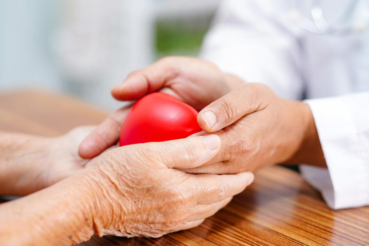 Lekarz przekazuje starszemu pacjentowi model serca - Najczęstsze problemy kardiologiczne po 60 roku życia